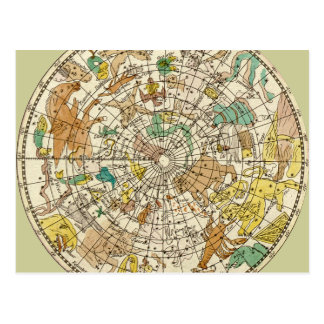 Northern Sky Star Chart and Constellations Map Postcard
