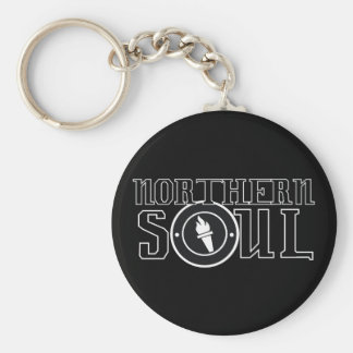 Northern soul Flame bw Basic Round Button Key Ring