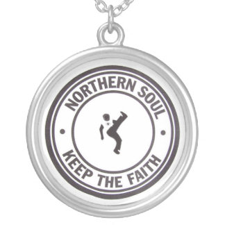Northern Soul Keep The Faith Slogans & Dancer Silver Plated Necklace