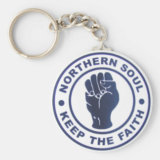 Northern Soul Keep The Faith Slogans & Fist Symbol Basic Round Button Key Ring