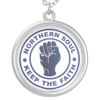 Northern Soul Keep The Faith Slogans & Fist Symbol Silver Plated Necklace