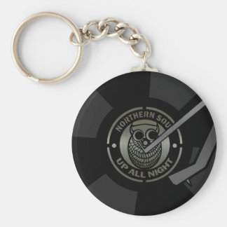 Northern Soul vinyl on turntable Basic Round Button Key Ring