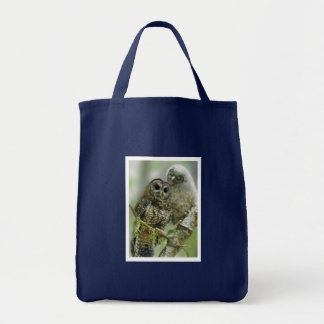 Northern Spotted Owl with Owlet Tote Bag