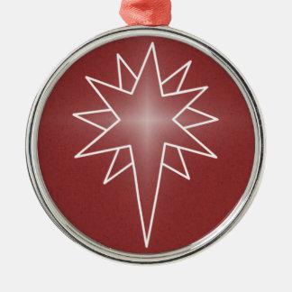 Northern Star Premium Round Ornament, Red Silver-Colored Round Decoration