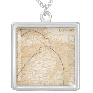 Northern Steamship Company map Silver Plated Necklace