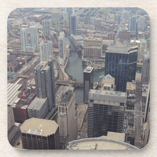Northern View Of Chicago From Sears Tower Drink Coasters