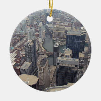 Northern View Of Chicago From Sears Tower Round Ceramic Decoration