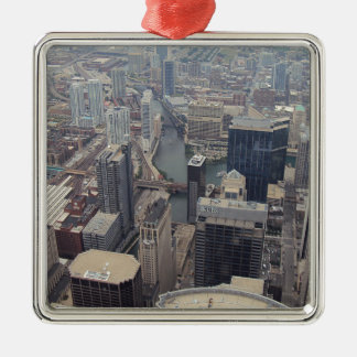 Northern View Of Chicago From Sears Tower Silver-Colored Square Decoration
