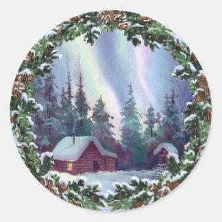 NORTHERNLIGHTS LOG CABIN & WREATH by SHARON SHARPE Round Sticker