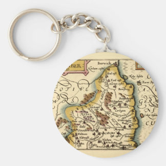 Northumberland County Map, England Basic Round Button Key Ring