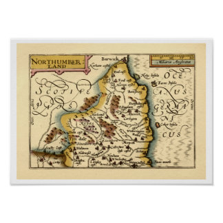 Northumberland County Map, England Poster