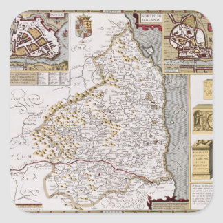 Northumberland, engraved by Jodocus Hondius Square Sticker