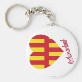 Northumberland Flag Heart with Name Basic Round Button Key Ring
