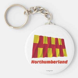 Northumberland Waving Flag with Name Basic Round Button Key Ring
