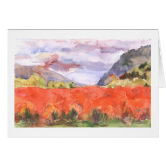 Northwest blueberry field in fall greeting card