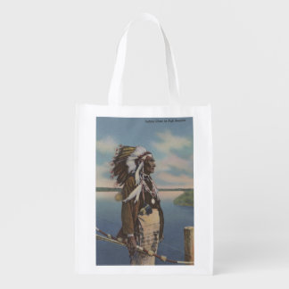 Northwest Indian Chief in Full Regalia Reusable Grocery Bag