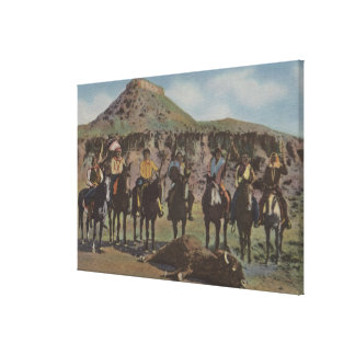 Northwest Indians - A Buffalo Hunt and Indians Canvas Print