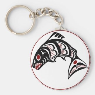 Northwest Pacific coast Haida art Salmon Key Ring