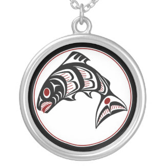 Northwest Pacific coast Haida art Salmon Silver Plated Necklace