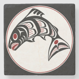 Northwest Pacific coast Haida art Salmon Stone Coaster