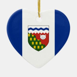 Northwest Territories Flag Heart Christmas Tree Ornaments