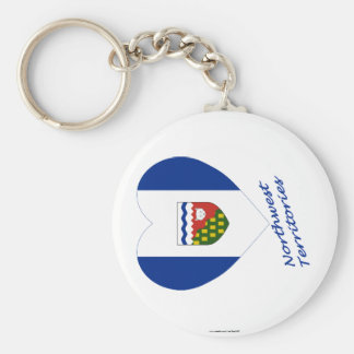 Northwest Territories Flag Heart with Name Basic Round Button Key Ring