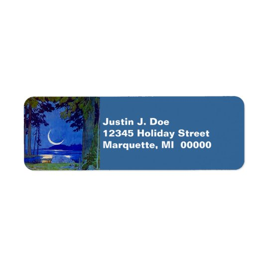 Northwoods Sliver Moon Lake Return address Label