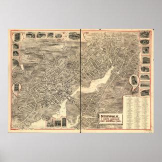 Norwalk Connecticut Antique Panoramic Map Poster