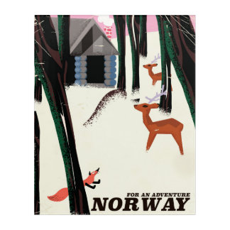 Norway Adventure vintage travel poster landscape Acrylic Wall Art