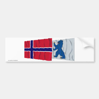 Norway and Buskerud waving flags Bumper Sticker
