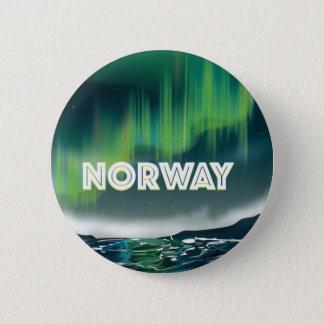 Norway Aurora Northern Lights Travel Poster 6 Cm Round Badge