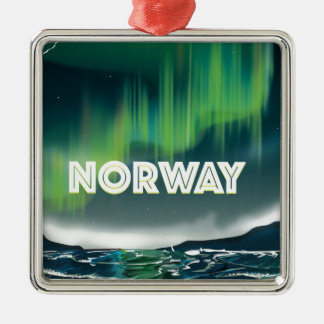 Norway Aurora Northern Lights Travel Poster Christmas Ornament