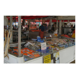 Norway, Bergen, Fish market on the waterfront Poster