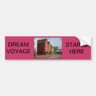 Norway, Bergen,painted houses on the waterfront Bumper Sticker