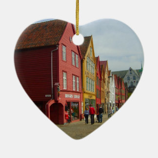 Norway, Bergen,painted houses on the waterfront Ceramic Heart Decoration