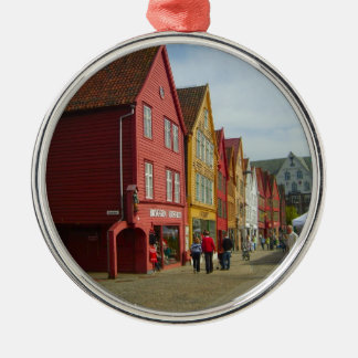 Norway, Bergen,painted houses on the waterfront Christmas Ornament