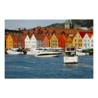 Norway, Bergen, painted houses on the waterfront Poster