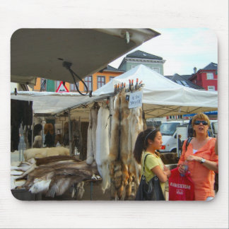 Norway, Bergen,Wolf skins for sale in the market Mouse Pad
