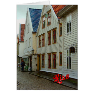 Norway, Bergen, wooden houses and cobbles Card
