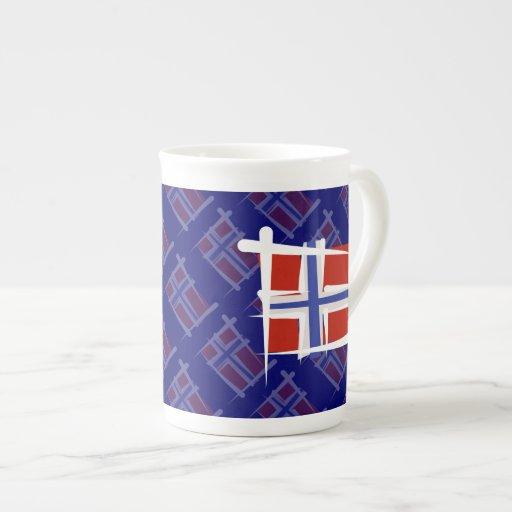 Norway Brush Flag Porcelain Mugs