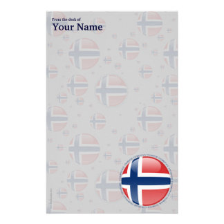 Norway Bubble Flag Personalized Stationery