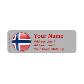 Norway Bubble Flag Return Address Label