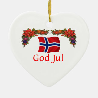 Norway Christmas Ceramic Heart Decoration