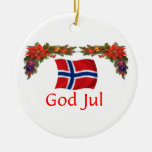 Norway Christmas Round Ceramic Decoration