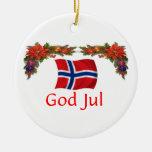 Norway Christmas Round Ceramic Decoration