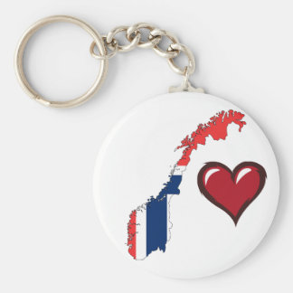 Norway country flag red heart key ring