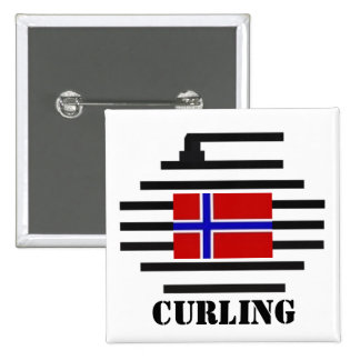 Norway Curling Pinback Buttons