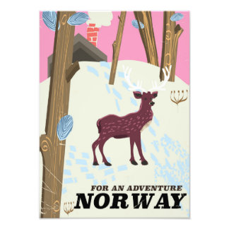Norway deer vintage travel poster photograph