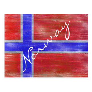 Norway distressed Norwegian flag Postcard