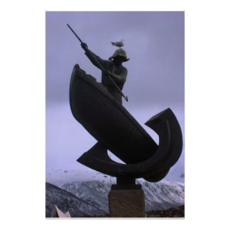 Norway, Fisherman statue, northern norway Poster